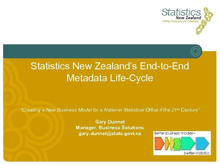 "Statistics New Zealand's End-to-End Metadata Life-Cycle ""Creating a New Business Model for a National"