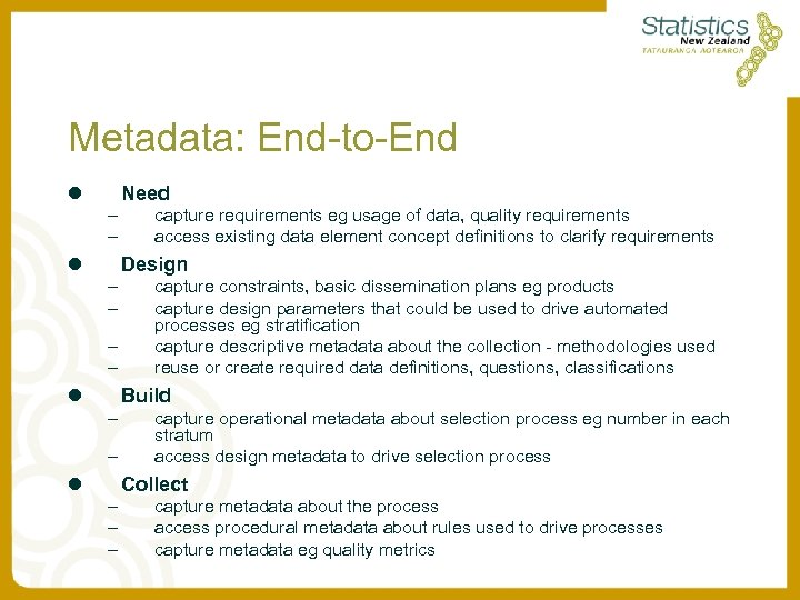Metadata: End-to-End l Need – – l capture requirements eg usage of data, quality