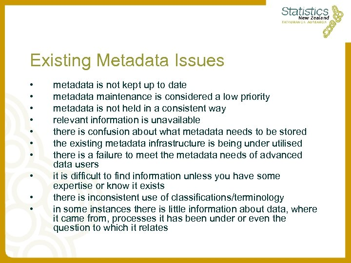 Existing Metadata Issues • • • metadata is not kept up to date metadata