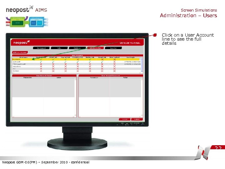 AIMS Screen Simulations Administration – Users Click on a User Account line to see