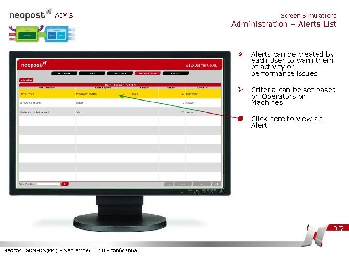 AIMS Screen Simulations Administration – Alerts List Ø Alerts can be created by each