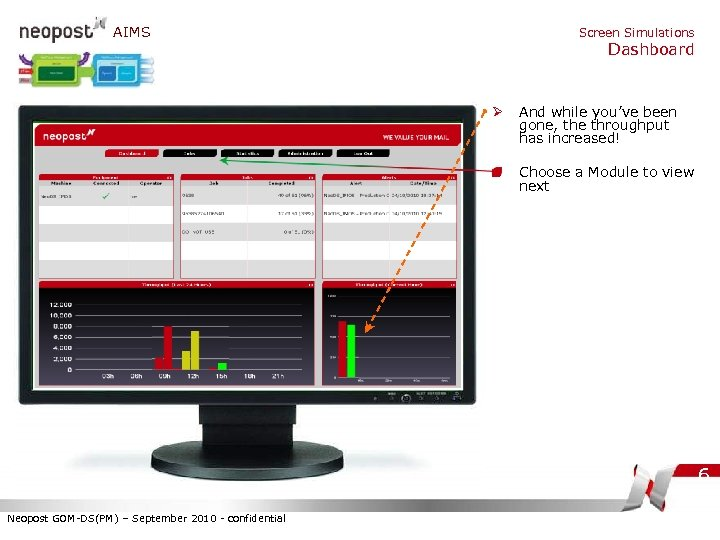 AIMS Screen Simulations Dashboard Ø And while you've been gone, the throughput has increased!