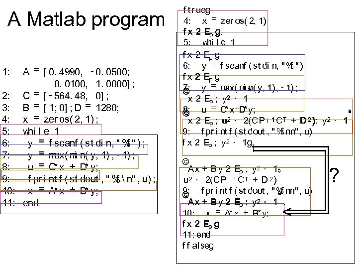 A Matlab program A = [ 0. 4990, - 0. 0500; 0. 0100, 1.