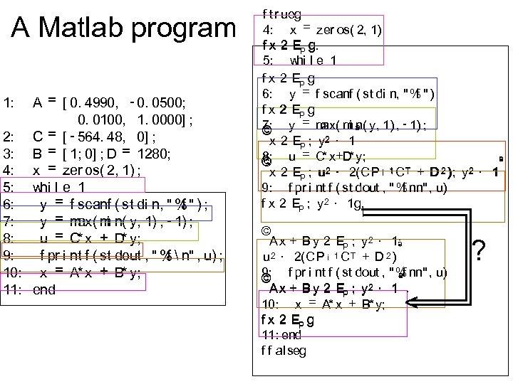 A Matlab program A = [ 0. 4990, - 0. 0500; 0. 0100, 1.