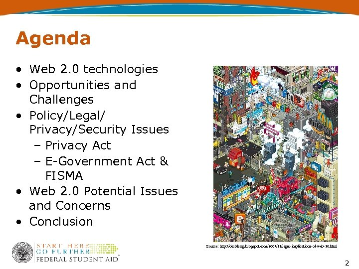 Agenda • Web 2. 0 technologies • Opportunities and Challenges • Policy/Legal/ Privacy/Security Issues