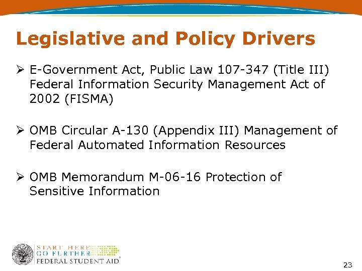 Legislative and Policy Drivers Ø E-Government Act, Public Law 107 -347 (Title III) Federal