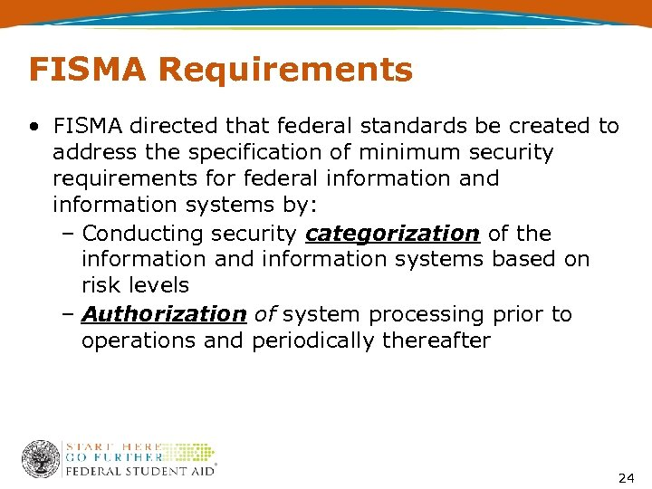 FISMA Requirements • FISMA directed that federal standards be created to address the specification