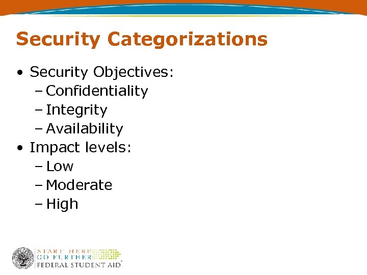 Security Categorizations • Security Objectives: – Confidentiality – Integrity – Availability • Impact levels: