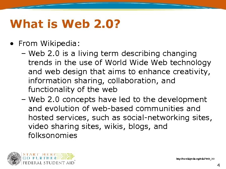 What is Web 2. 0? • From Wikipedia: – Web 2. 0 is a