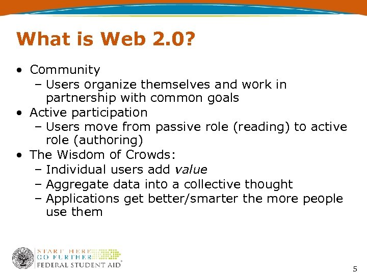 What is Web 2. 0? • Community – Users organize themselves and work in