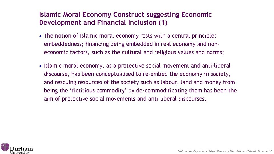 Islamic Moral Economy Construct suggesting Economic Development and Financial Inclusion (1) · The notion