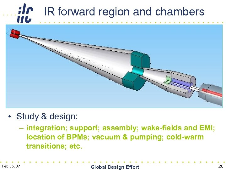 IR forward region and chambers • Study & design: – integration; support; assembly; wake-fields