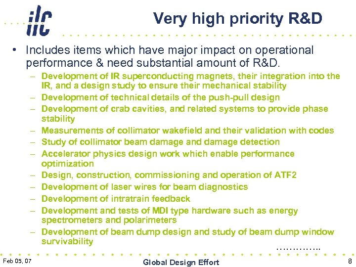 Very high priority R&D • Includes items which have major impact on operational performance