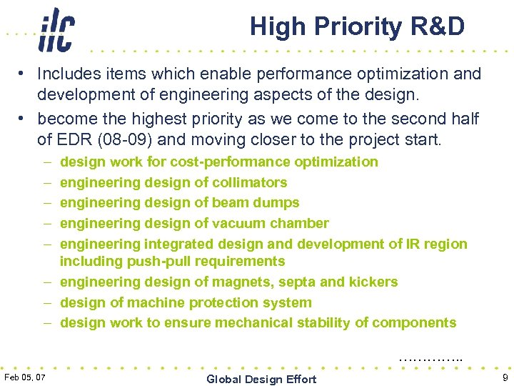 High Priority R&D • Includes items which enable performance optimization and development of engineering