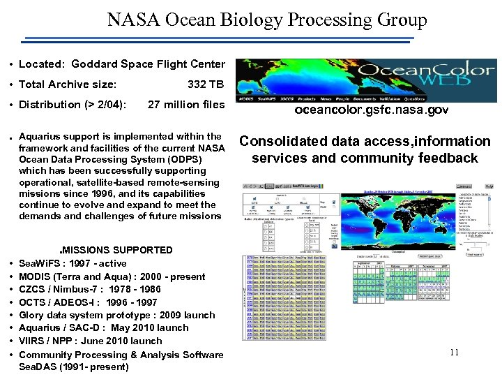 NASA Ocean Biology Processing Group • Located: Goddard Space Flight Center • Total Archive