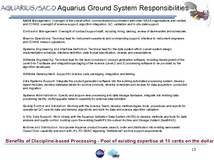 Aquarius Ground System Responsibilities NASA Management: Oversight of the overall effort, communication/coordination with other