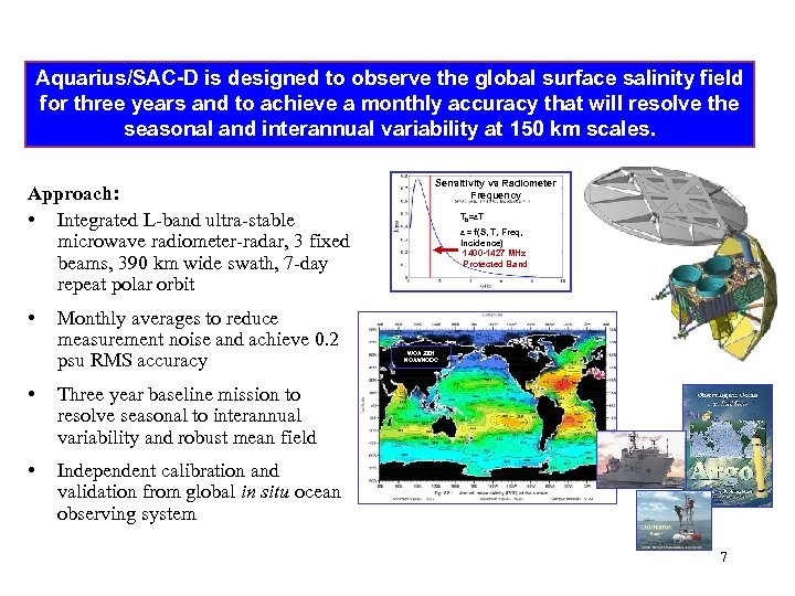 Aquarius/SAC-D is designed to observe the global surface salinity field for three years and
