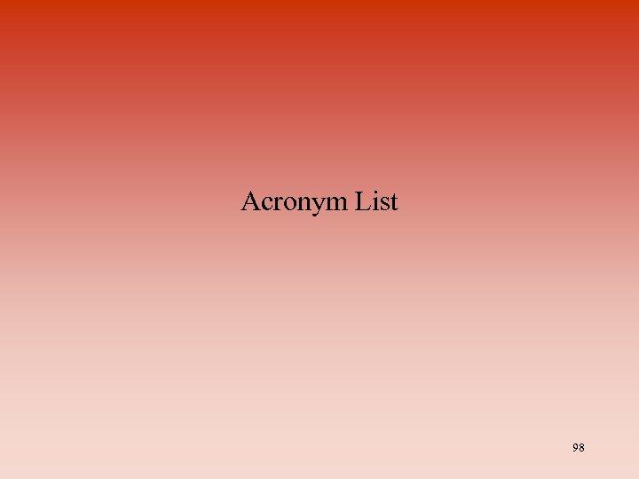 Acronym List 98
