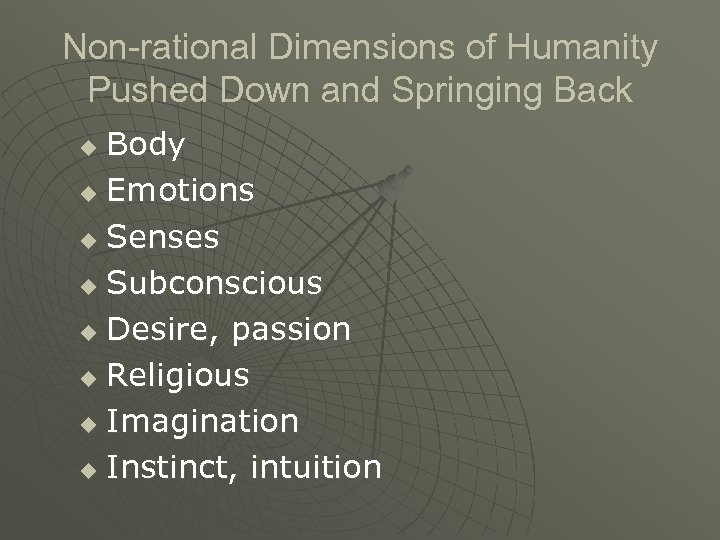 Non-rational Dimensions of Humanity Pushed Down and Springing Back Body u Emotions u Senses