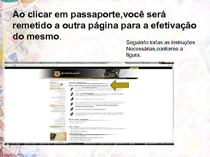 Ao clicar em passaporte, você será remetido a outra página para a efetivação do