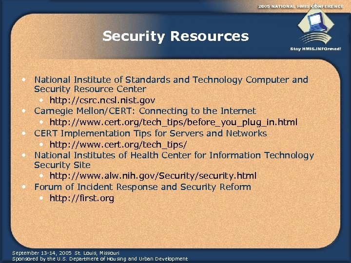 Security Resources • National Institute of Standards and Technology Computer and Security Resource Center
