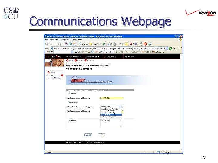 Communications Webpage 13