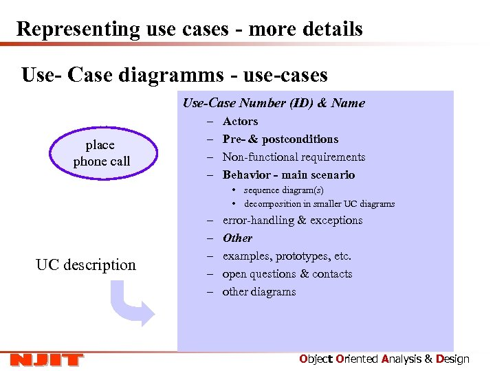 Representing use cases - more details Use- Case diagramms - use-cases Use-Case Number (ID)
