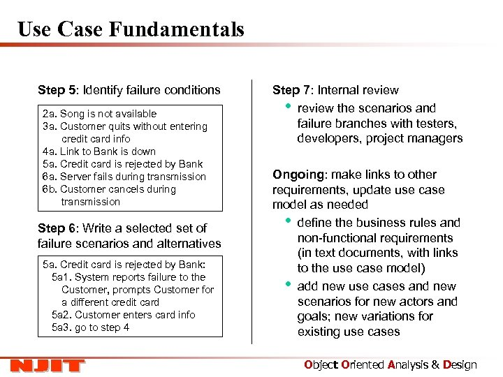Use Case Fundamentals Step 5: Identify failure conditions 2 a. Song is not available