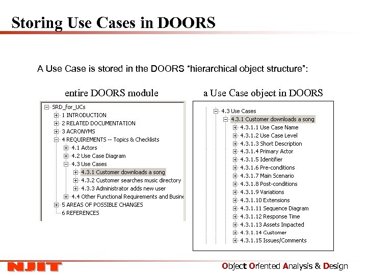 """Storing Use Cases in DOORS A Use Case is stored in the DOORS """"hierarchical"""