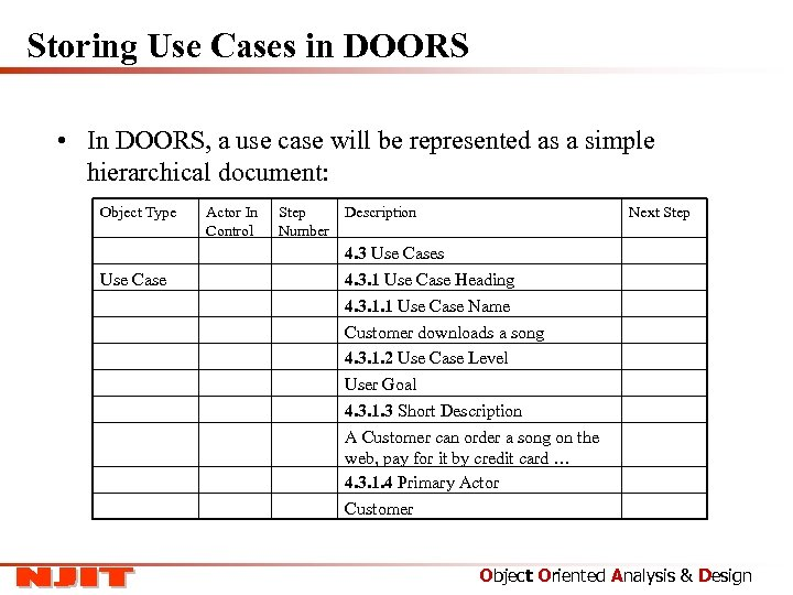 Storing Use Cases in DOORS • In DOORS, a use case will be represented