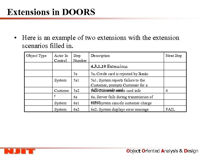 Extensions in DOORS • Here is an example of two extensions with the extension