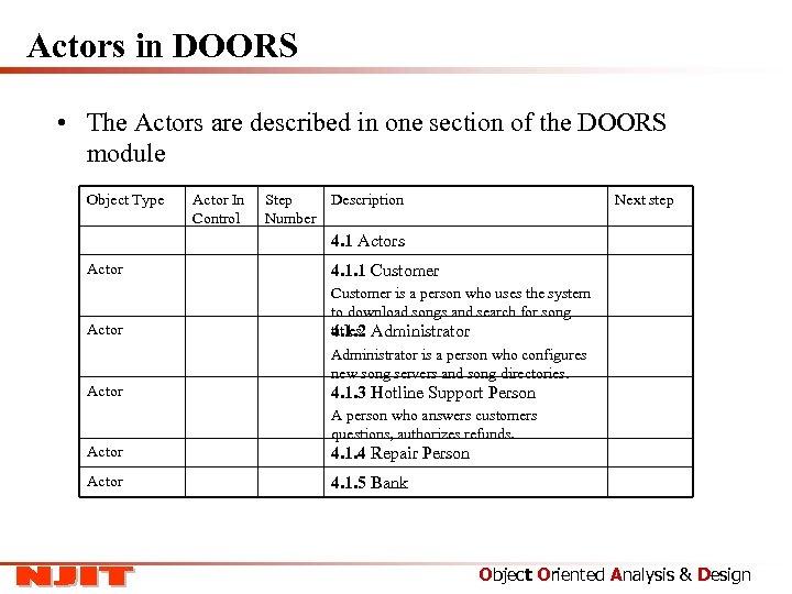Actors in DOORS • The Actors are described in one section of the DOORS