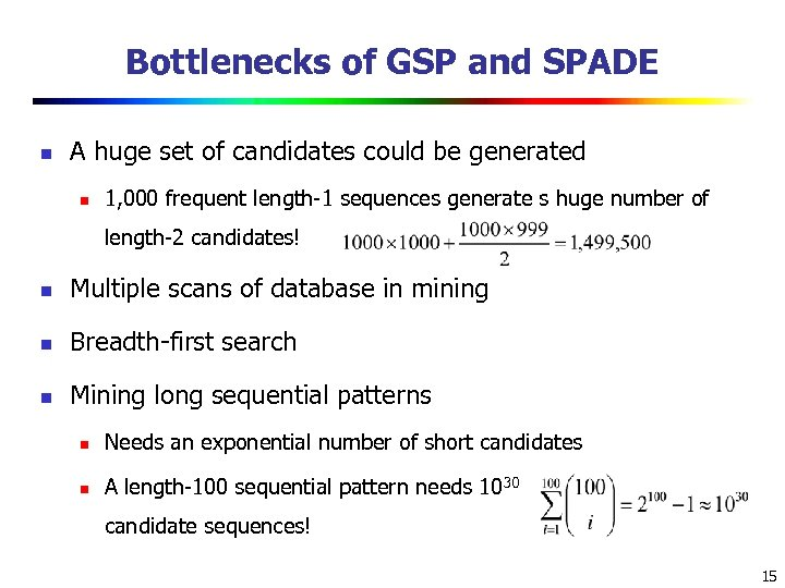 Bottlenecks of GSP and SPADE n A huge set of candidates could be generated