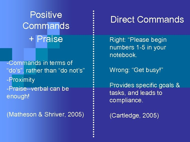 "Positive Commands + Praise -Commands in terms of ""do's"", rather than ""do not's"" -Proximity"