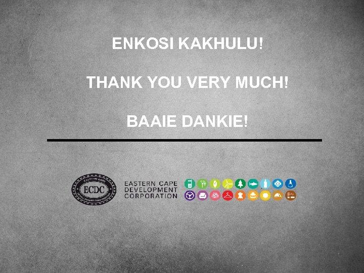 ENKOSI KAKHULU! THANK YOU VERY MUCH! BAAIE DANKIE!