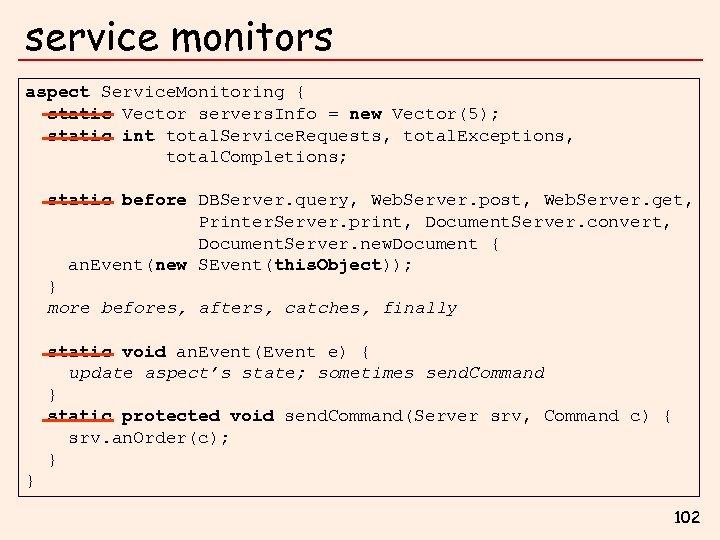 service monitors aspect Service. Monitoring { static Vector servers. Info = new Vector(5); static