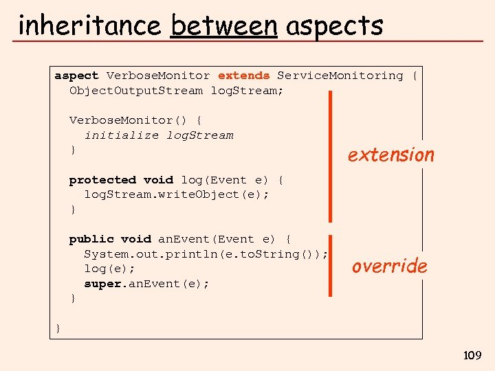 inheritance between aspects aspect Verbose. Monitor extends Service. Monitoring { Object. Output. Stream log.