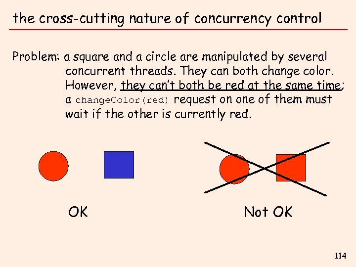 the cross-cutting nature of concurrency control Problem: a square and a circle are manipulated