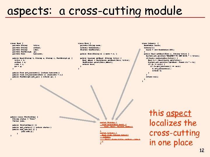 aspects: a cross-cutting module class Book { private Book. ID id; class Book {