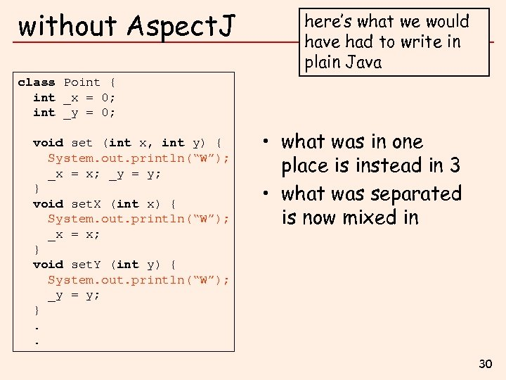 without Aspect. J here's what we would have had to write in plain Java