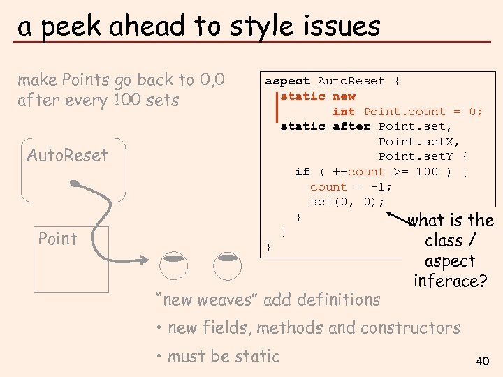 a peek ahead to style issues make Points go back to 0, 0 after