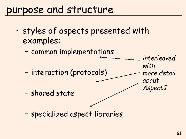 purpose and structure • styles of aspects presented with examples: – common implementations –