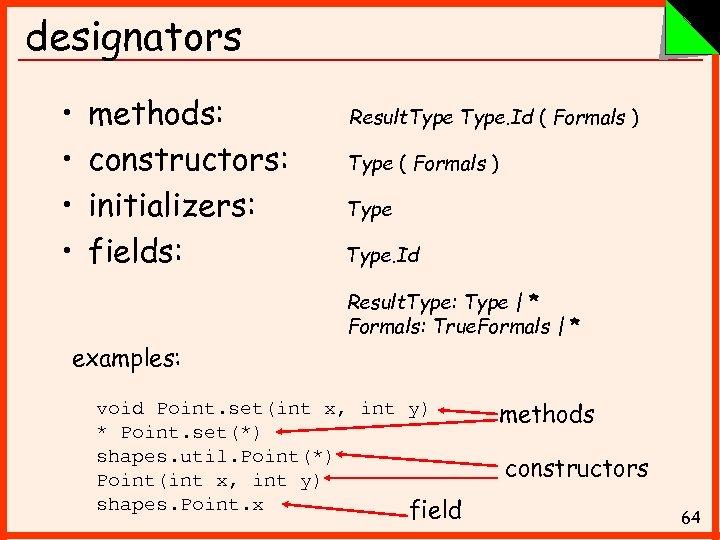 designators • • methods: constructors: initializers: fields: Result. Type. Id ( Formals ) Type.