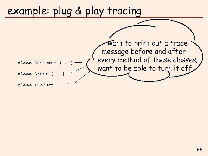 example: plug & play tracing class Customer { … } class Order { …