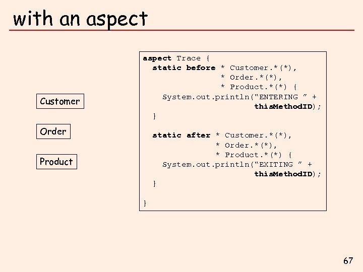 with an aspect Customer aspect Trace { static before * Customer. *(*), * Order.