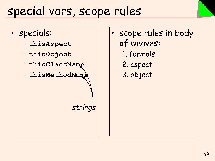 special vars, scope rules • specials: – – this. Aspect this. Object this. Class.
