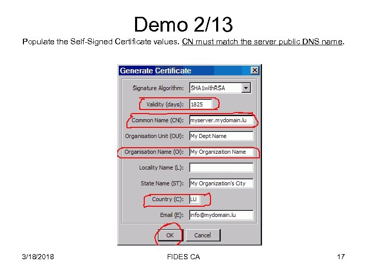 Demo 2/13 Populate the Self-Signed Certificate values. CN must match the server public DNS
