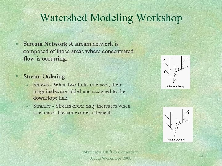 Watershed Modeling Workshop § Stream Network A stream network is composed of those areas