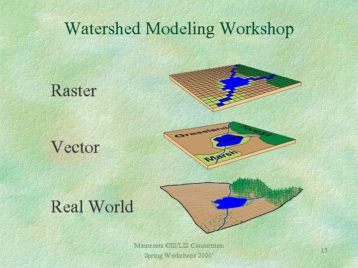 Watershed Modeling Workshop Raster Vector Real World Minnesota GIS/LIS Consortium Spring Workshops 2000' 15