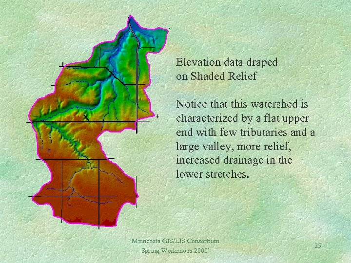 Elevation data draped on Shaded Relief Notice that this watershed is characterized by a